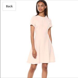 Theory Crepe Modern Seamed Shift Dress Pale Pink